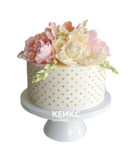 Шикарный торт Женщине на юбилей 65 лет с большими цветами