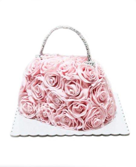 Торт сумка из розовых цветов