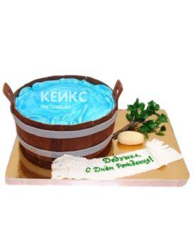Торт баня в виде деревянной шайки