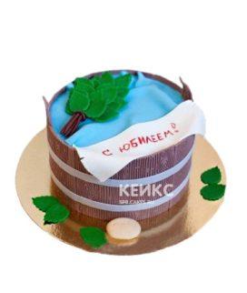 Торт баня в виде деревянной шайки и веника