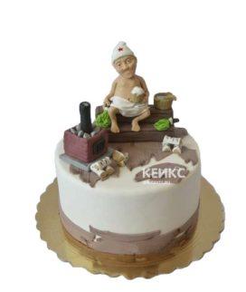 Торт баня с лежаком и печкой
