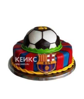 Сине-красный торт Барселона с эмблемой и мячом