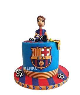 Торт ФК Барселона с фигуркой игрока