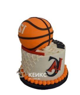 Торт в виде баскетбольного мяча и сетки