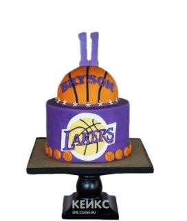 Торт баскетбол с эмблемой Lakers