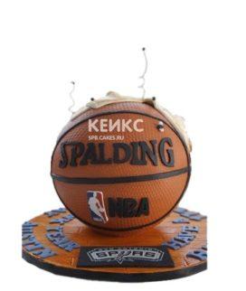 Торт в виде баскетбольного мяча с надписью