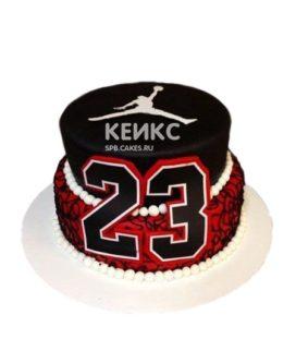 Красно-черный баскетбольный торт с номером