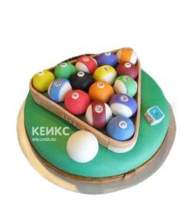 Круглый торт бильярд зеленого цвета с шарами