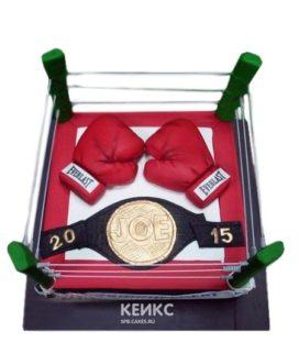 Торт бокс в виде ринга с перчатками и поясом