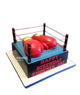 Торт бокс в виде ринга с перчатками