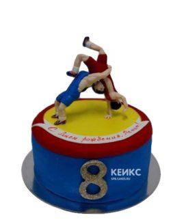 Спортивный торт Борьба на ринге с фигурками борцов