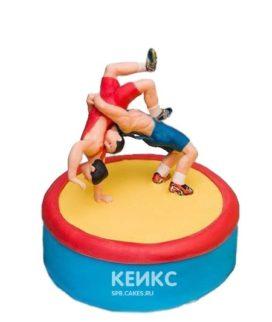 Разноцветный торт Борьба с фигурками борцов