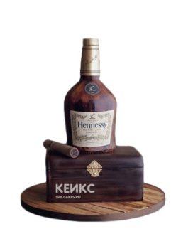 Торт бутылка Хеннесси с сигарой