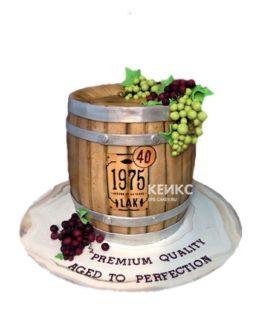 Торт бочонок спиртного с виноградом