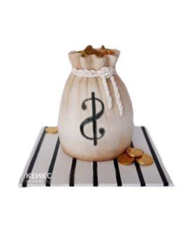 Торт в виде мешочка с деньгами