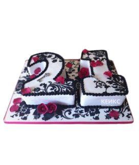 Торт в виде цифры с цветами и узорами
