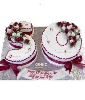 Торт цифра в бело-красном цвете с бантиками и цветами