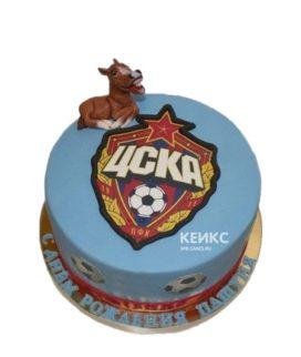 Голубой торт с эмблемой ЦСКА и мячами