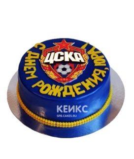 Синий торт с желтой надписью и эмблемой ЦСКА