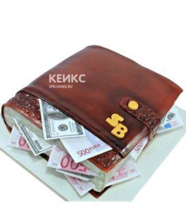 Необычный торт в виде портмоне с деньгами