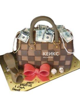 Торт в виде сумки с деньгами и бантом
