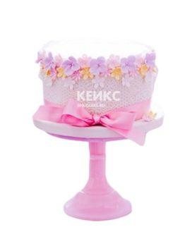 Торт с цветами и розовым бантиком на 10 лет девочке