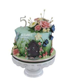 Зеленый торт с цветами и бабочками девочке на 5 лет