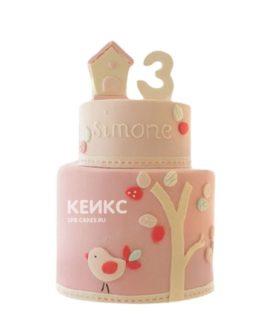 Розовый торт с деревом и птичкой девочке на 3 года