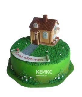 Торт в виде дома с лужайкой