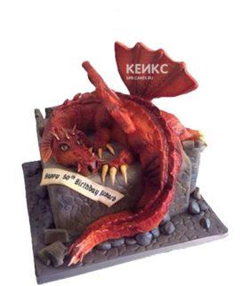 Торт красный дракон на камне