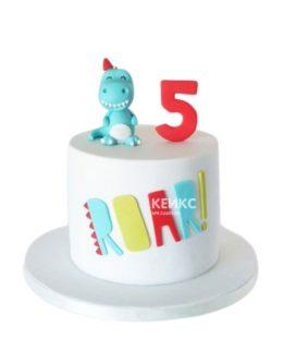 Торт с фигуркой дракона голубого цвета