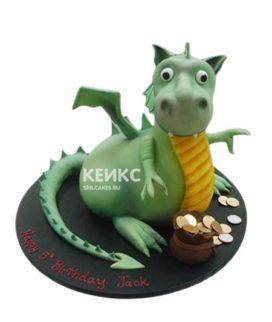 Торт дракон зеленый с монетами