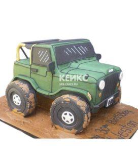 Торт в виде зеленого джипа