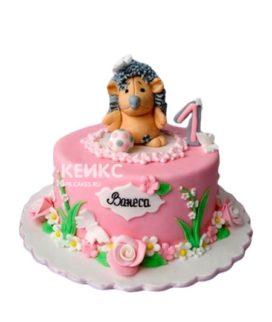Розовый торт с фигуркой ежика