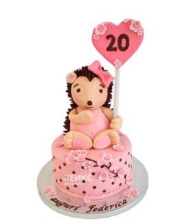 Розовый торт ежик с сердечком