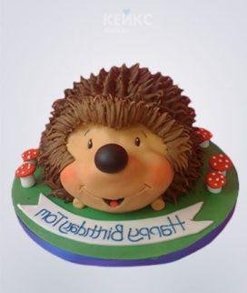 Торт в виде ежика с грибами и надписью