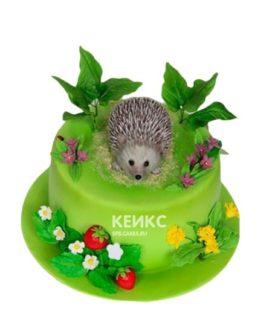 Торт в виде ёжика на траве с цветочками