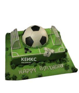 Торт в виде футбольного поля с мячом