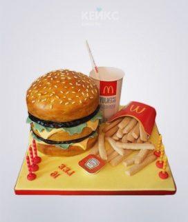 Реалистичный торт Гамбургер с картошкой и колой