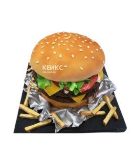 Торт в виде большого гамбургера