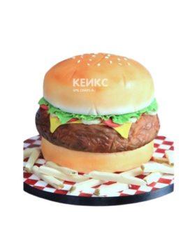 Торт в виде гамбургера с картошкой фри