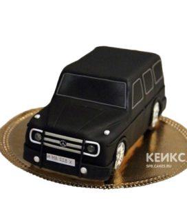 Торт в форме черной машины Мерседес гелендваген