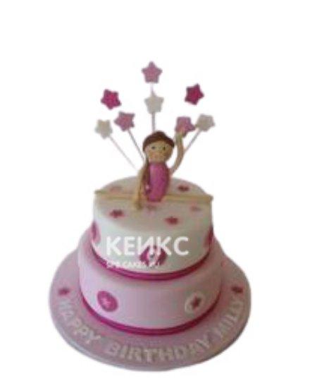 Двухъярусный розовый торт Гимнастика со звездами
