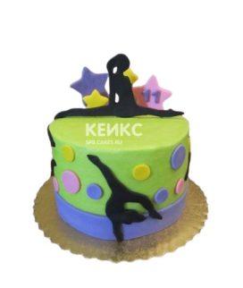 Зеленый торт Гимнастика с фигурками гимнасток