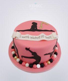 Торт для девочки на тему Художественная Гимнастика в розовом цвете