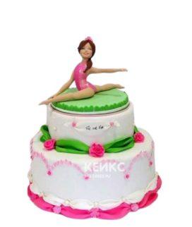 Розово-зеленый торт Гимнастика с фигуркой гимнастки