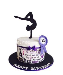 Торт Гимнастика с фиолетовой медалью и фигуркой гимнастки