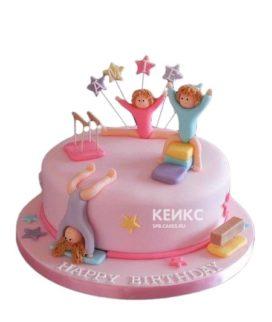 Розовый торт Гимнастика со снарядами и гимнастками