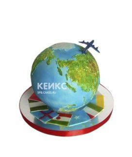 Торт в виде глобуса с самолетом