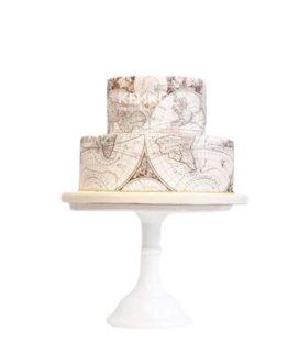 Оригинальный праздничный торт карта мира для путешественника